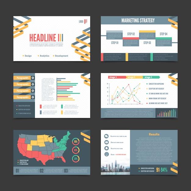 Zestaw sześciu banerów szablonów prezentacji poziomej Darmowych Wektorów