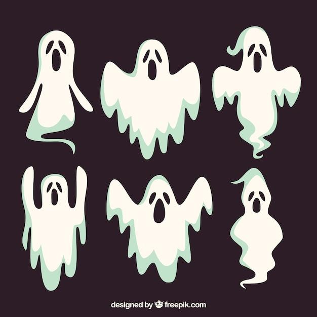 Zestaw Sześciu Halloween Duchy Darmowych Wektorów