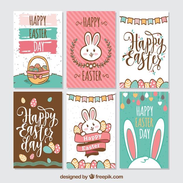 Zestaw Sześciu Kreatywnych Kart Wielkanocnych Darmowych Wektorów