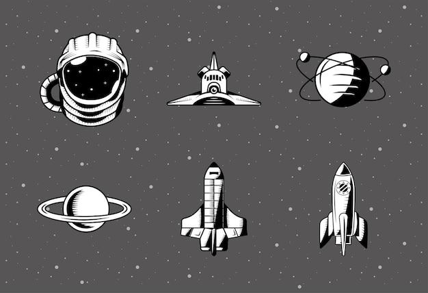 Zestaw Sześciu Naszywek Kosmicznych Premium Wektorów