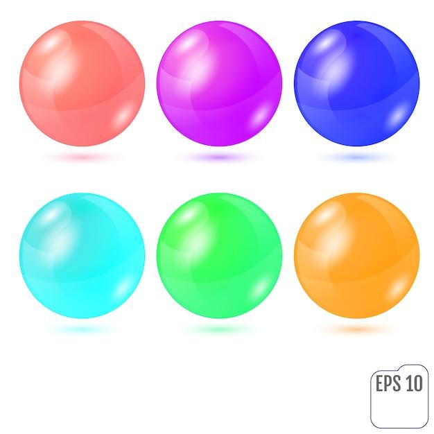 Zestaw sześciu wielokolorowych realistycznych kolorowych kulek Premium Wektorów
