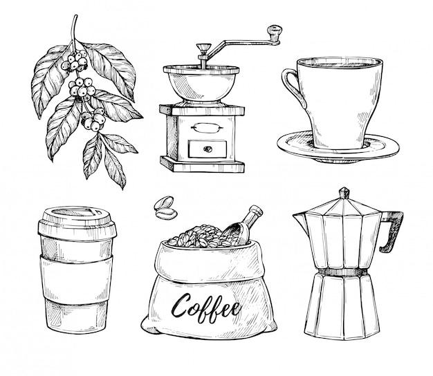 Zestaw szkic vintage wyciągnąć rękę kawy Premium Wektorów