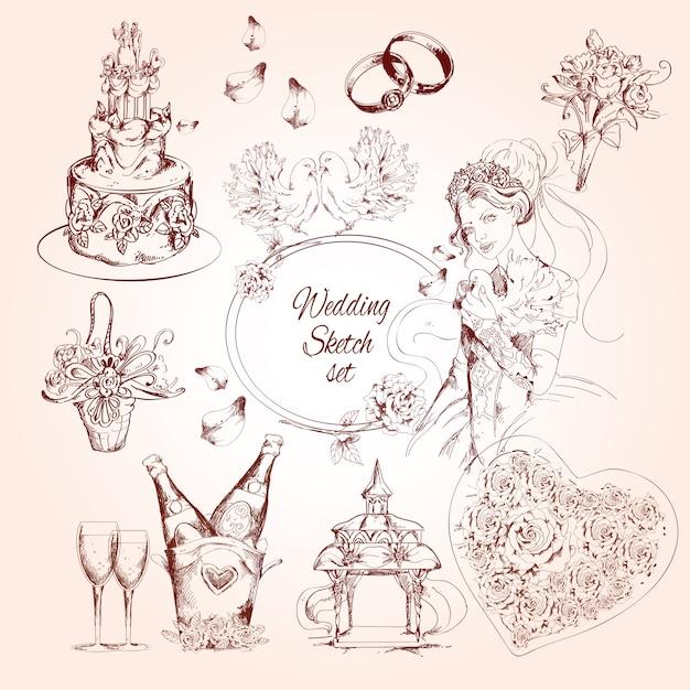 Zestaw szkiców ślubnych Premium Wektorów