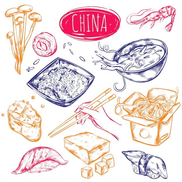 Zestaw Szkiców żywności W Chinach Darmowych Wektorów