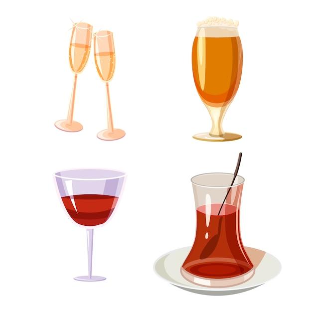 Zestaw szklany. kreskówka zestaw szkła Premium Wektorów