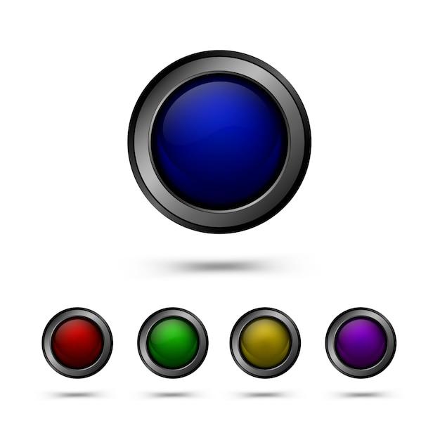 Zestaw szklanych przycisków w kolorze czerwonym, żółtym, niebieskim, zielonym i fioletowym Premium Wektorów