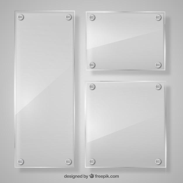 Zestaw szklanych ramek w realistycznym stylu Darmowych Wektorów
