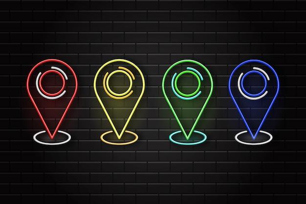 Zestaw Szpilek Mapy Retro Neon Na Tle ściany. Pojęcie Logistyki I Transportu. Premium Wektorów