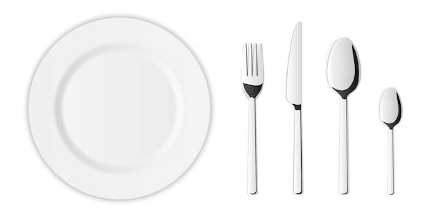 Zestaw sztućców ze srebrnym widelcem kuchennym, łyżką, nożem. Premium Wektorów