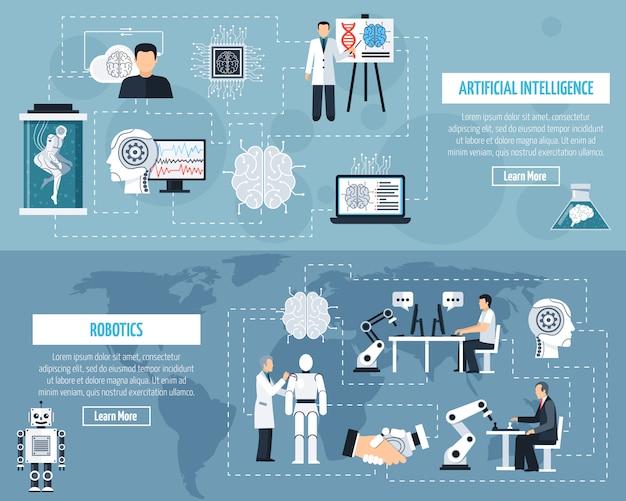 Zestaw Sztucznej Inteligencji Banery Darmowych Wektorów