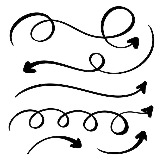 Zestaw sztuki kaligrafii rozkwitać vintage dekoracyjne strzałki Premium Wektorów