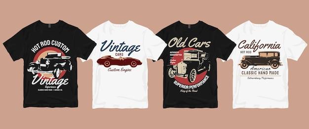 Zestaw T-shirt W Stylu Vintage Retro Car Premium Wektorów
