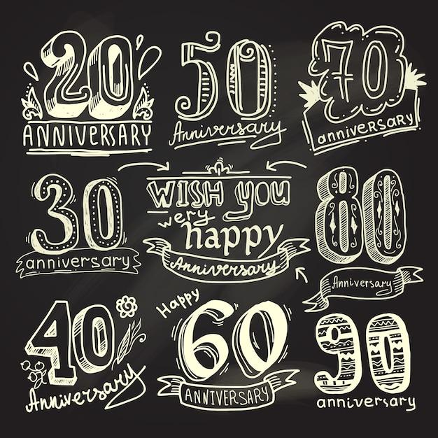 Zestaw tablica rocznica znaki Premium Wektorów