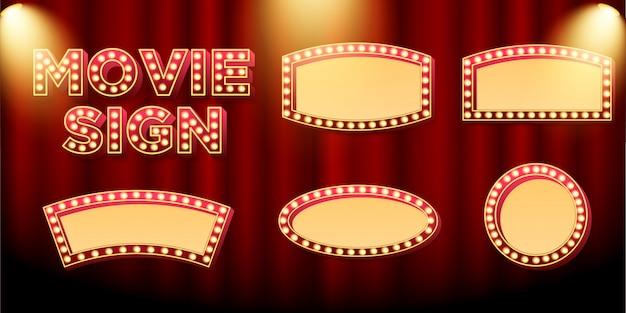 Zestaw tabliczki lub szyldu markizy do promocji filmu i kina Premium Wektorów