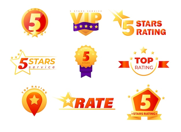 Zestaw Tagów I Etykiet Do Oceny Usług Vip Premium Wektorów