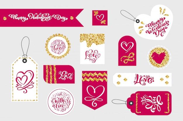 Zestaw Tagów Prezent Walentynki Z Typograficzne Premium Wektorów