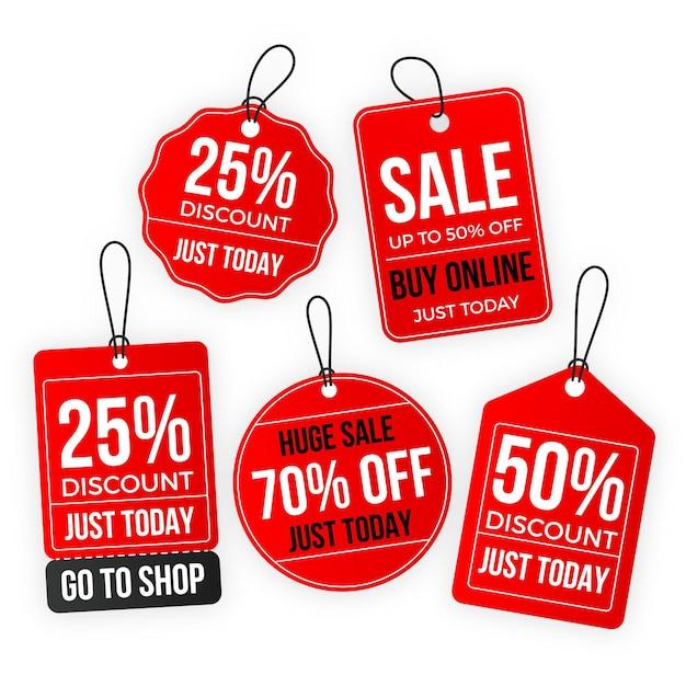 Zestaw Tagów Sprzedaży Płaska Konstrukcja Darmowych Wektorów