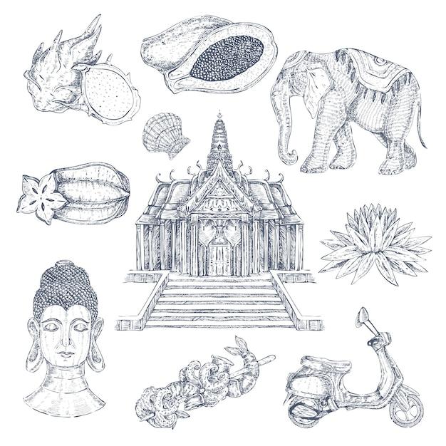 Zestaw Tajskich Elementów Rysowane Darmowych Wektorów