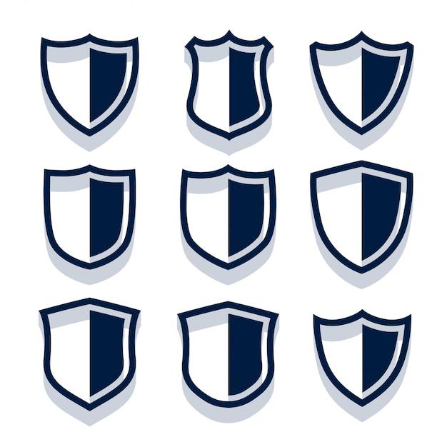 Zestaw tarczy bezpieczeństwa i odznaki Darmowych Wektorów