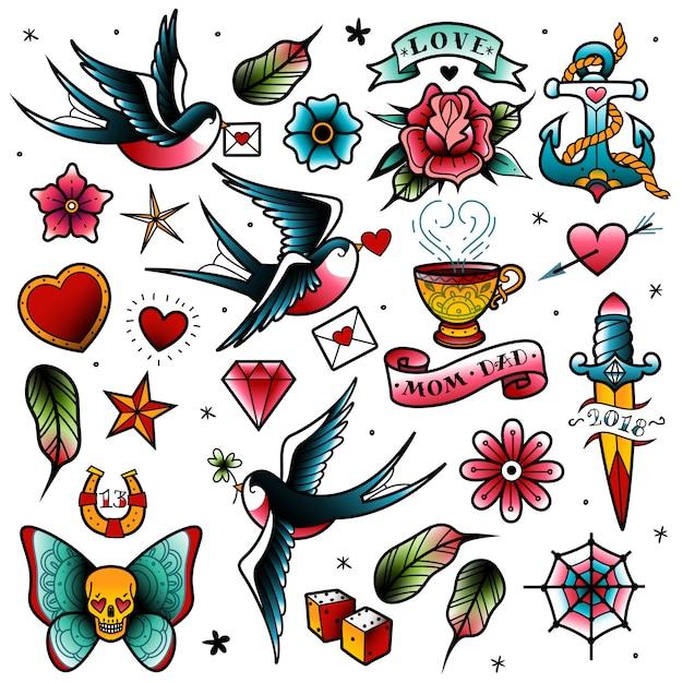 Zestaw tatuaży starej szkoły Premium Wektorów