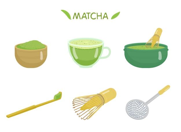 Zestaw Tea Matcha. Kubek Z Matchą, Sproszkowaną Herbatą, Bambusową łyżeczką, Trzepaczką, Miseczką Ceramiczną, Sitkiem. Japoński Tradycyjny Napój. Premium Wektorów