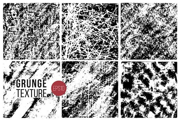 Zestaw Tekstur Grunge. Tła Monochromatyczne Abstrakcyjne Powierzchnie Ziarna Dla Projektu. Premium Wektorów