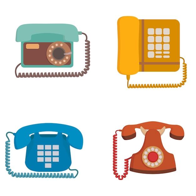 Zestaw Telefonów Retro. Przestarzały Sprzęt W Stylu Kreskówki. Premium Wektorów