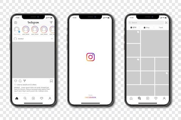 Zestaw Telefonu Z Ramką Szablonu Mediów Społecznościowych Premium Wektorów