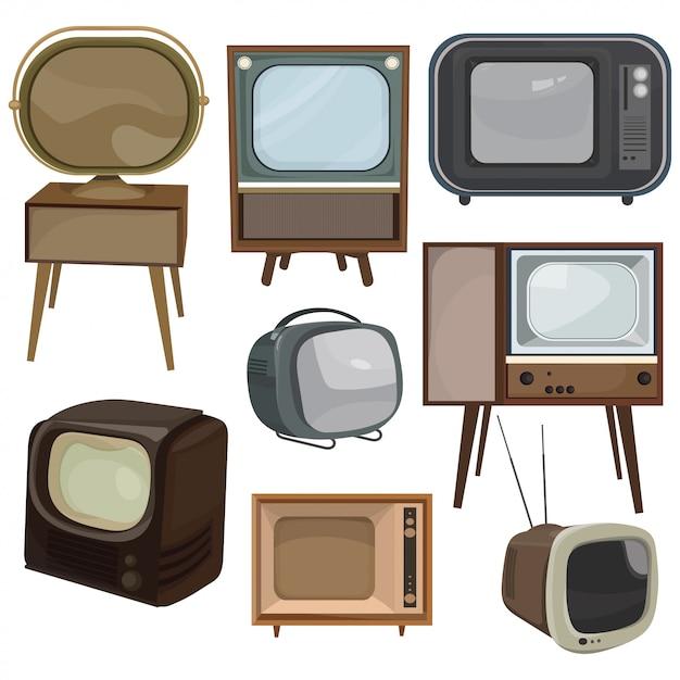 Zestaw Telewizorów Retro. Kolekcja Starych Telewizorów Kreskówek. Ilustracja Wektorowa Telewizji. Premium Wektorów