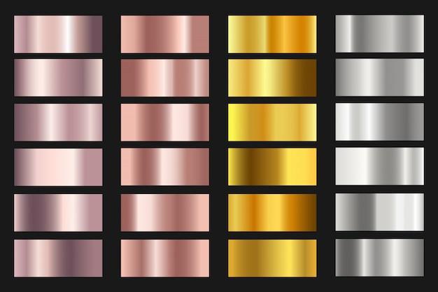 Zestaw Tła Tekstury Złota, Srebra, Brązu I Różowe Złoto Folia. Premium Wektorów