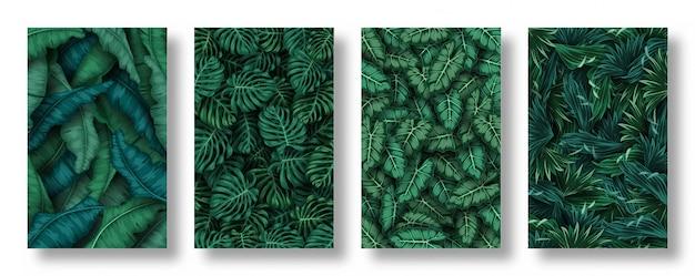 Zestaw tło liści tropikalnych Premium Wektorów