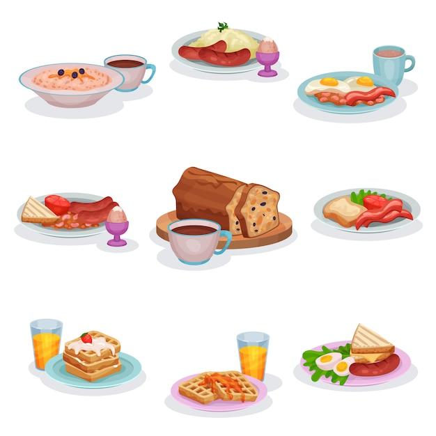 Zestaw Tradycyjnych Angielskich Potraw śniadaniowych, Owsianki Owsianej, Tłuczonych Ziemniaków Z Kiełbasą, Jajek I Szynki, Klasycznego Keksa, Gofrów Ilustracje Premium Wektorów