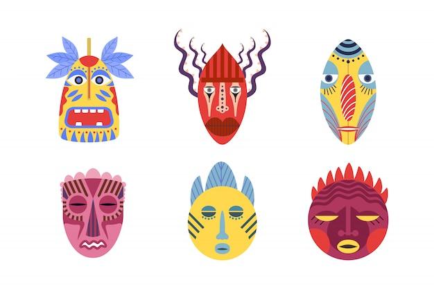 Zestaw Tradycyjnych Masek Plemiennych Darmowych Wektorów