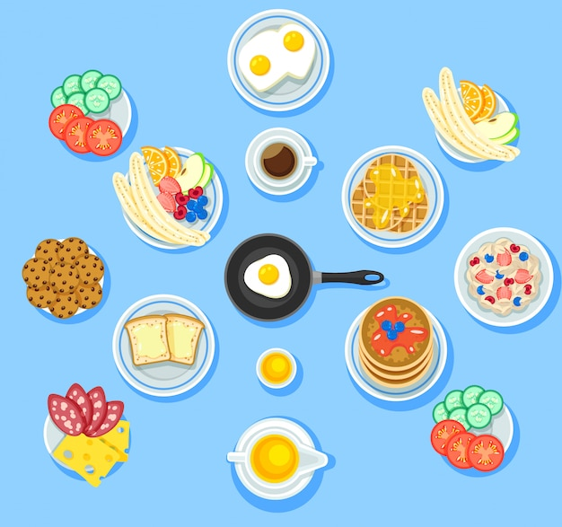 Zestaw Tradycyjnych Potraw śniadaniowych Darmowych Wektorów