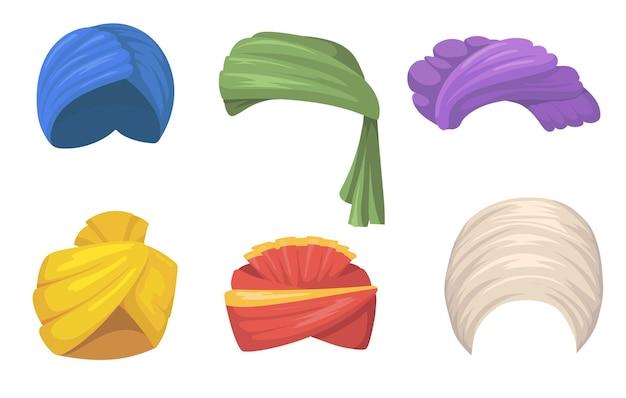 Zestaw Tradycyjnych Turbanów. Indyjskie I Arabskie Kapelusze, Kolorowe Pożary Nakrycia Głowy Sikh Na Białym Tle. Płaska Ilustracja Darmowych Wektorów