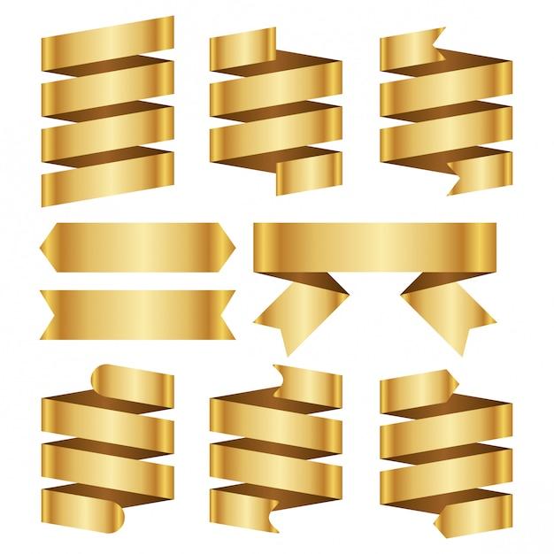 Zestaw transparent wektor wstążka złota Premium Wektorów