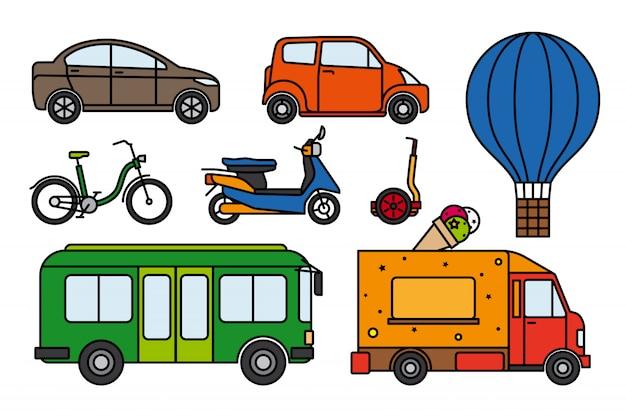 Zestaw transportu miejskiego Premium Wektorów