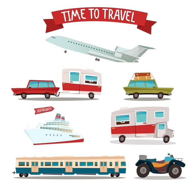 Zestaw transportu podróży. camper and car. pociąg i samolot. motocykl atv. statek pasażerski. Premium Wektorów
