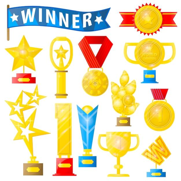Zestaw trofeów i medali Premium Wektorów