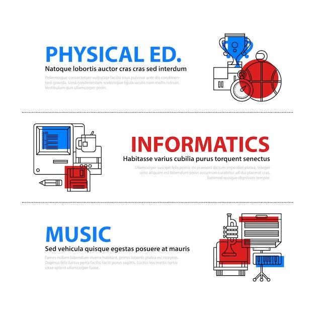Zestaw Trzech Banerów Internetowych O Edukacji Premium Wektorów