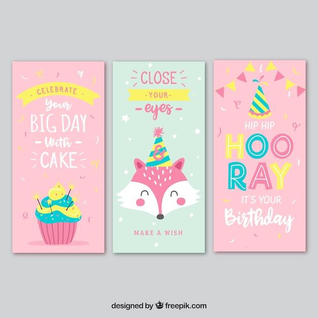 Zestaw trzech kart urodzinowych w kolorze różowym i turkusowym Darmowych Wektorów