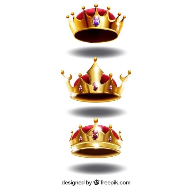 Zestaw Trzech Koron Luksusowych W Realistycznym Stylu Darmowych Wektorów