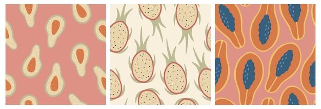 Zestaw Trzech Wzorów Bez Szwu świeżych Owoców Premium Wektorów