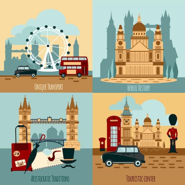 Zestaw turystyczny w londynie Darmowych Wektorów