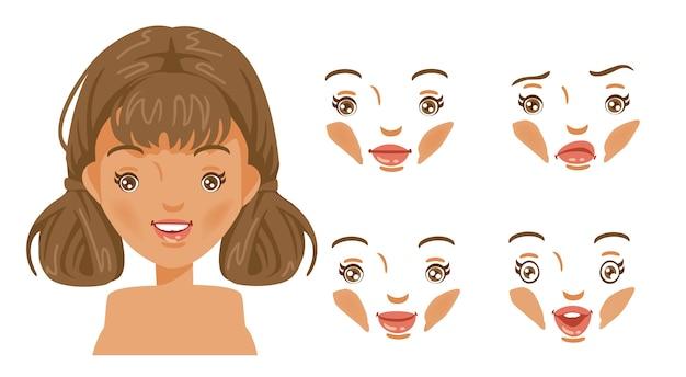 Zestaw Twarzy Kobiet. Nowoczesna Moda Na Asortyment. Głowa Kobiecej Fryzury. Dziewczyna Z Brązowymi Włosami. Premium Wektorów