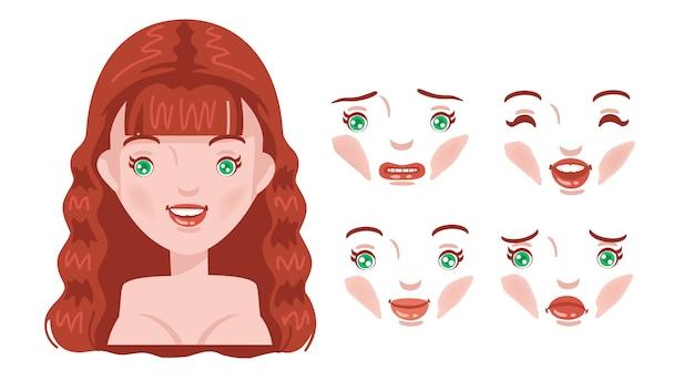 Zestaw Twarzy Kobiet. Nowoczesna Moda Na Asortyment. Młoda Głowa Kobiety, Kobieca Fryzura. Rude Włosy. Premium Wektorów