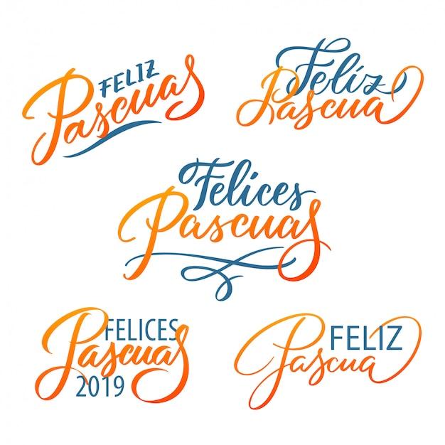 Zestaw Typograficzny Feliz Pascua. Wielkanoc W Języku Hiszpańskim. Nowoczesna Kaligrafia Drukuje Wektor Napis, Elementy Projektu. Premium Wektorów