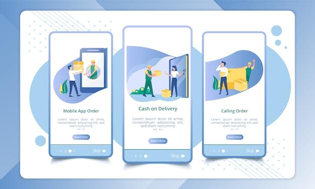 Zestaw typu ekranu dołączania przesyłki Premium Wektorów