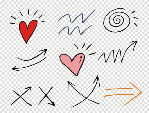 Zestaw uderzeń podkreślenia w różnych stylach doodle stylu Premium Wektorów