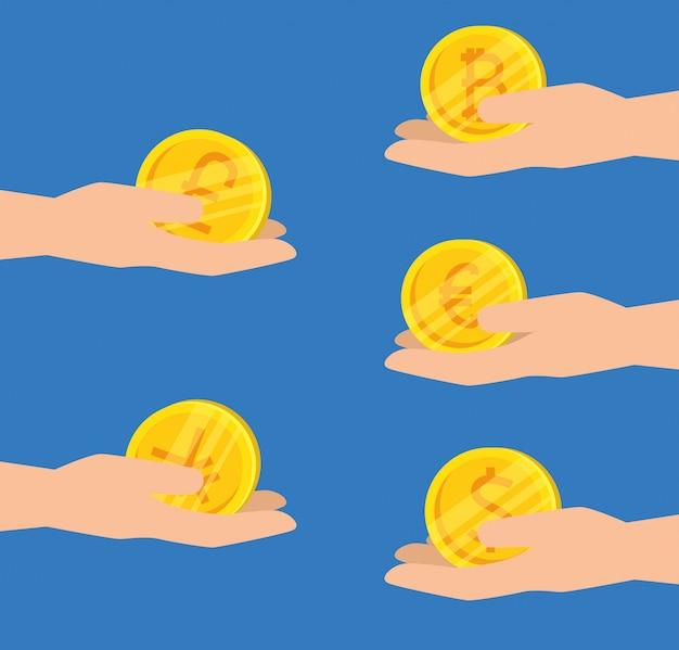 Zestaw Układów Z Wirtualnymi Bitcoinami Darmowych Wektorów